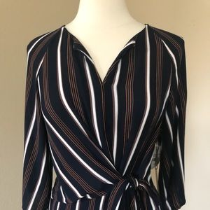 Gibson Latimer Dresses - Gibson Latimer Navy Striped Dress NWT